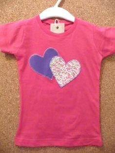 camiseta corazones violeta  camiseta de algodón,tela de algodón estampada,hilos de bordar aplique cosido a mano,patchwork