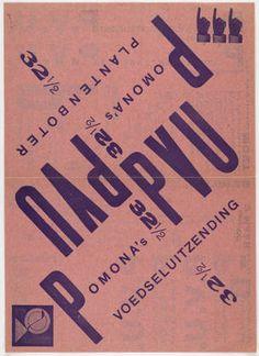Piet Zwart. Pomona's Voedseluitzending P.V.U., Pomona's Plantenboter P.V.U. 1923 or later