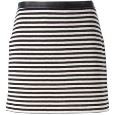 T BY ALEXANDER WANG Striped Mini Skirt ($349) ❤ liked on Polyvore