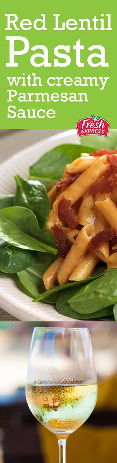 A spicier wine like Zinfandel pairs well with a salad with peppery flavors. Try your favorite bottle of with this Red Lentil Pasta Salad with Creamy Pasta Sauce on a bed of spinach for the perfect date night wine & salad pairing. Supper Recipes, Lunch Recipes, Healthy Dinner Recipes, Healthy Eating Recipes, Healthy Snacks, Healthy Eats, Lentil Pasta, Egg Roll Recipes, 3 Ingredient Recipes