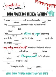 New MAD LIBS BABY shower edition Circus Elephant by BlushNotes