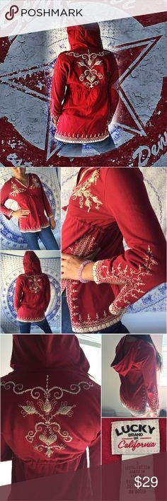 Lucky Brand Red Hoodie Cute pull over style cotton hoodie... DrAwstring under the bustline ...white embroided stitching detail throughout .. Size small No trades no pay pal Lucky Brand Tops Sweatshirts & Hoodies