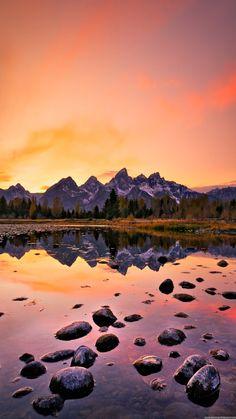 mountain lake sunset iphone 6 plus hd wallpaper