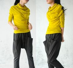 yellow sweater and baggy pants