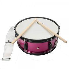 "14"" Snare Drum Pink with Drumsticks Strap"