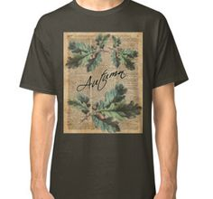 Classic T-Shirt Oak Tree Leaves And Acorns, Autumn Vintage Dictionary Art Moro