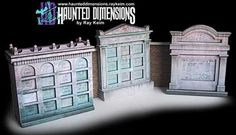 """Halloween Special - Crypts Paper Models - by Haunted Dimensions == These """"creepy"""" Crypts in scale was created by North American designer Ray Keim, from Haunted Dimensions website. They are perfect for Halloween decorations, Dioramas, RPG and Wargames. Haunted Mansion Halloween, Halloween Village, Diy Halloween Decorations, Halloween Crafts, Halloween Ideas, Disney Halloween, Paper Toys, Paper Crafts, 3d Paper"""