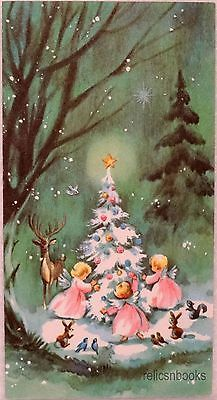 #767 60s Unused w/Env Angels & Deer by the Tree-Vtg Christmas Card-Greeting