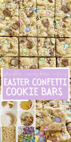 Easter Treats | Easter Recipes | Easter Surprise Confetti Cookie Bars are a peanut butter oatmeal cookie bar base loaded with Easter sprinkles, m&m's, and candy bar chunks.