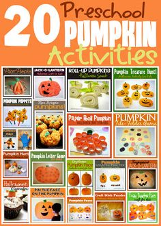 20 easy Pumpkin activities for Preschool. Fun Halloween ideas for kids.