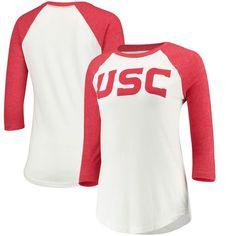 USC Trojans Women's Wordmark Tri-Blend Raglan 3/4-Sleeve T-Shirt - White/Cardinal 1
