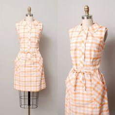 1960s Dress  Orange Plaid Day Dress with by OldFaithfulVintage, $43.00