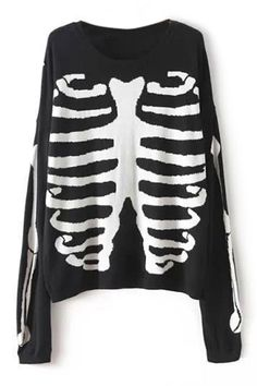 ROMWE | ROMWE Skeleton Knitted Black Jumper, The Latest Street Fashion