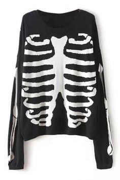 ROMWE | ROMWE Skeleton Knitted Black Jumper, The Latest Street Fashion