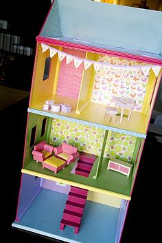 Sweet birthday gift- homemade doll house- love the bright colors and mixed patterns
