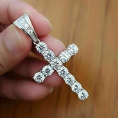 White Gold Over Round Cut Diamond Solitaire Cross Fancy Wedding Pendant Cross Jewelry, Silver Jewelry, Fine Jewelry, Round Cut Diamond, Diamond Cuts, Diamond Cross Necklaces, Diamond Jewelry, Gold Chains For Men, Christian Jewelry