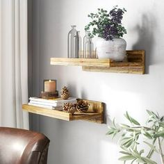 Three Posts Tishie Floating 2 Pieces Wall Shelf Set Finish: Dark Walnut, Size: H x W x D Industrial Wall Shelves, Modern Floating Shelves, Reclaimed Wood Floating Shelves, Solid Wood Shelves, Wood Wall Shelf, Rustic Industrial, Rustic Luxe, How To Make Floating Shelves, Regal Display