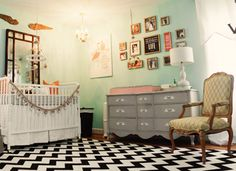 oh. em. gee. i die for this nursery! so many of my favorite things... mint, pink, grey, chevron, eclectic framing... perfect.