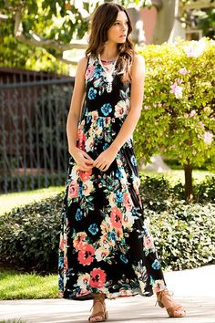 To the Market Black Floral Maxi Dress