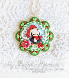Handcrafted Polymer Clay Christmas Penguin Ornament