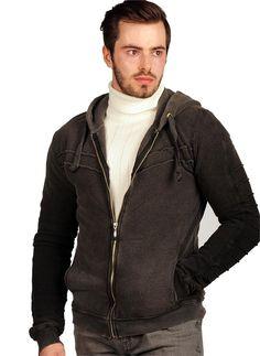 Erkek Ceket Kollar Çizgili Kapşonlu Füme | Modelleri ve Uygun Fiyat Avantajıyla | Modabenle