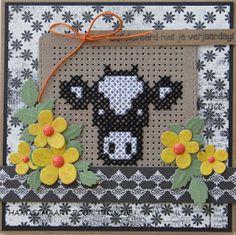 Trijntjes Cards: Cow in cross stitch - Trijntjes Cards: Cow in cross stitch - Tiny Cross Stitch, Cat Cross Stitches, Cross Stitch Boards, Cross Stitch Animals, Cross Stitch Flowers, Cross Stitch Kits, Cross Stitch Designs, Cross Stitch Patterns, Stitching On Paper
