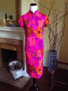 """Waltah Clarke's"" Wild Hawaiian Full Length Kimono Style Dress Womens XS 1960's #WaltahClarke #kimono #hawaiian #vintage #floral #palmbeach"