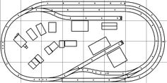 Track plan for a HO scale model railroad with multiple industrial sidings and a long passing siding on a 4x8' platform.