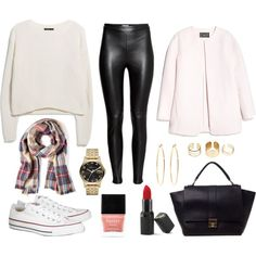 Fall Outfit - checked scarf, leather pants, chunky knit sweater, converse chucks, trapez tote bag, knuckle rings, golden hoops, watch, white coat