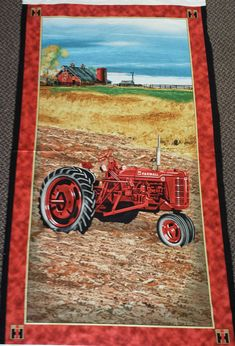 Large Farmall a tractor panel make wall hanging, pillows and Farmall Tractors, Quilts, Pillows, Unique Jewelry, Handmade Gifts, Wall, How To Make, Fabric, Painting
