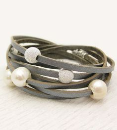 Sterling Silver Pearl and Leather Wrap Bracelet / Fresh