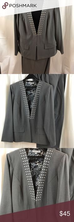 "Danny and Nicole 2pc Jacket and Pants Sz 16W Nice Very nice and only worn a couple of times, this suit is perfect for the career woman. Grey with silver sequins it goes from work to play seamlessly. Size 16w jacket measures 35"" neck to hem, 17"" across shoulders, 24"" sleeves. Pants measure 40"" waist to hem and 36"" waist. Danny and Nicole Pants Trousers"