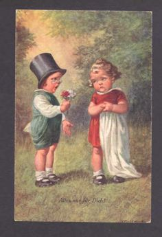 "Play Pretend Romantic Boy ""All for You"" Gives Girl Flowers Fialkowska Postcard 