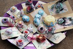 Spring Flower Clip  Flower Hair Clip  Fabric by KaGeyWonderworks, $4.00