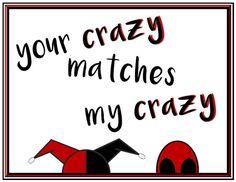 Deadpool and Harley Quinn Poster Deadpool Harley Romantic