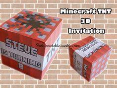 MINECRAFT TNT 3D CUBE MINECRAFT 3D INVITATION. Printable Minecraft invitation…