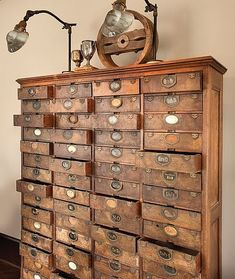 So much more useful than an old library card catalog chest, but I'd love either one! Just think of the craft/sewing organization that could happen!