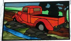 Red Truck by Wendy's Stained Glass
