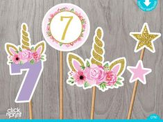 Unicorn Birthday Centerpieces Print Yourself, Printable Unicorn Cake Toppers, Unicorn Party Decoration, Unicorn Birthday Centerpieces Thanks for visiting my shop! This listing is for a DIGITAL FILE (No items will be shipped to you). 1st Birthday Centerpieces, Unicorn Centerpiece, Birthday Decorations, Cake Centerpieces, Cupcake Decorations, Decoration Party, Unicorn Birthday Parties, Unicorn Party, 7th Birthday