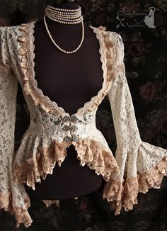 ➸ This cardigan is inspired by late Victorian fashion, ajusted to own design. Its made of a lovely quality ivory bridal lace decorated with fine Mode Vintage, Vintage Lace, Kleidung Design, Vintage Outfits, Vintage Fashion, Modern Victorian Fashion, Looks Dark, Moda Outfits, Looks Vintage