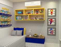 kleinkind zimmer Your children will collect many toys during their childhood and those toys can easily take over a room if you don't have a proper place to store them Lego Bedroom, Kids Bedroom, Bedroom Decor, Bedroom Ideas, Boys Room Design, Boys Room Decor, Chambre Nolan, Superhero Room, Baby Boy Rooms