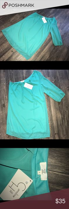 Caroline Hill- one shoulder dress Beautiful Aqua colored one shoulder dress, very flattering and lays above the knee. Never been worn. Feel free to comment, ask questions, and make an offer! Dresses One Shoulder