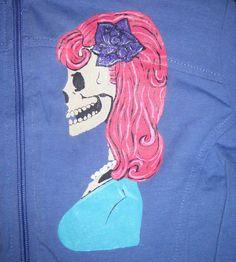 LOWER PRICE Rockabilly Pink Hair Skull Hoodie Women's Medium by 21CannonSalute, $20.00
