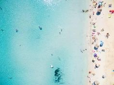 Aerial View of Sandy Beach with Tourists Swimming in Beautiful Clear Sea Water Photographic Print by paul prescott at AllPosters.com Beach Wave Spray, Beach Waves, Beach Photography, Travel Photography, Swimming Photography, Digital Photography, Destination Soleil, Croatian Coast, Water Poster