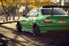 BMW E36 M3 green Stanceworks