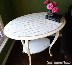 I love this - the lines of the table are soft and fluid and the script and colors reinforce it. :)