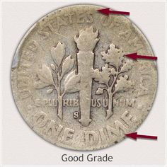 Areas to Judge on the Reverse to Identify a Good Grade Roosevelt Dime