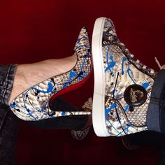 His Her Louboutin Designer Fashion High Heel Shoes Footwear Sneakers Trainers High Tops Red Bottoms Couple Matching Swag Relationship Goals Snake Skin Graffiti Print