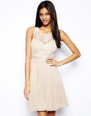 Elise Ryan Lace Midi Dress with Embellished Waist