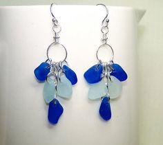 Sea Glass Earrings  Beach Glass Jewelry   Blue